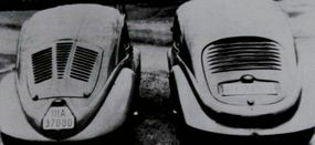 """Neither of these early Beetle concepts, the Volkswagen V30 (left) and the Volkswagen V3 (right) had a rear window. Their """"Beetle"""" form is obvious."""