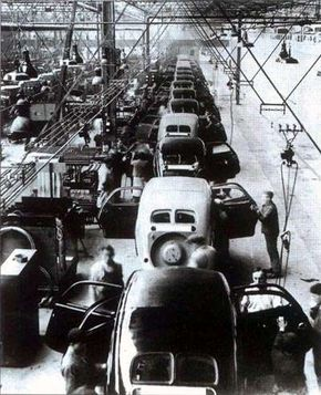 The Peugeot factory in Sochaux, France, hums with the activity of 402 assemblies.