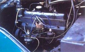 The Peugeot 402's power came from a 2.0-liter ohv four-cylinder engine.