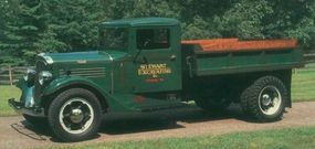 Stewarts were fitted with a variety of bodies, most built by Stewart itself. Pictured is a 1935 Stewart dump truck based on Stewart's one-ton chassis.