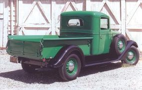 The 1937 International C-1 Pickup featured more rounded styling.