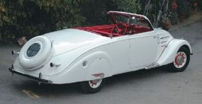 With the hardtop retracted, the 1938 Peugeot 402 B is a stylish convertible of the era.