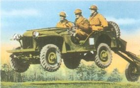 Instead of receiving a contract to produce more jeeps, American Bantam built carts to be pulled behind jeeps and other light trucks.
