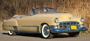 The overhead-valve V-8 engine, in models like this 1949 Cadillac Series 62 convertible, was one of two major developments introduced in 1949.