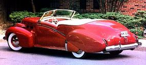 The 1940 Cadillac Custom convertible featured a unique rounded design.