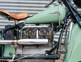 The inline-four F-head engine had overhead intake valves and side exhaust valves.
