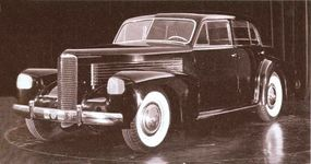 Photographed in 1937, another view of the 1940 LaSalle concept car shows a 1940-style LaSalle radiator, but with squared-off headlamps.