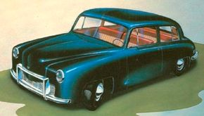 This small-sedan proposed by Brooks Stevens was among the rejected Kaiser-Frazer concept cars.
