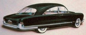 This 1951 Kaiser concept car shows a fastback proposal from Brooks Stevens that hinted at the actual roofline for the 1951 Kaiser line.