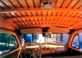 Note how much wood was used in the interior of the 1942 Ford Super DeLuxe station wagon.