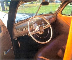 The wooded interior of the Ford station wagon was roomy and welcoming.