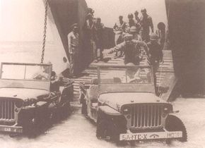 The jeep's light weight and high ground clearance allowed it to be driven directly off of a landing craft.