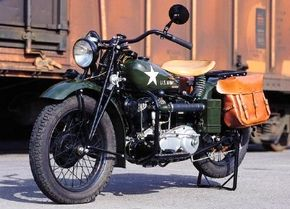 The 1942 Indian 741 was akin to Indian's civilian bikes, with a V-twin engine based on a peacetime design. See more motorcycle pictures.