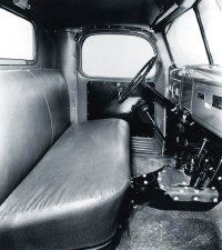 Though Dodge advertised the 1946 Dodge Power wagon as a three-person vehicle, the levers in the middle made it practical only for two.