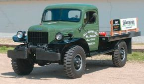 This 1948 Dodge Power Wagon cab model with flatbed served a well-drilling company.