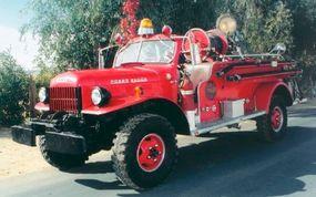 This restored 1952 Dodge Power wagon has a Van Pelt firefighting body.