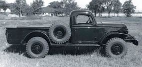Dodge engineers used this 'mule' for testing their proposed civilian four-wheel-drive truck in 1945.