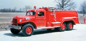 This custom-built fire truck on a Power Wagon chassis used rear axles from a WW II-era six-wheel-drive truck.