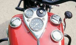 """""""Indian Red"""" remained a popular color choice for postwar Indian motorcycle buyers."""