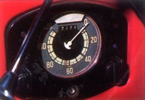 The speedometer is registered in kilometers, as this car was built for the European market.