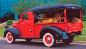 """The 1947 Dodge canopy delivery's """"canopy"""" was a wooden frame covered with fabric. See more classic truck pictures."""