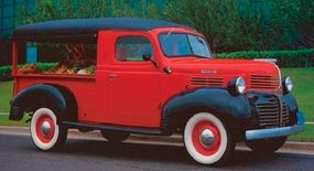 The 1947 Dodge canopy delivery is shown doing what it was designed to do: carry fresh produce to neighborhood buyers.