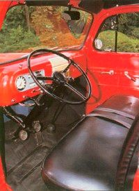 The floor shifter for the three-speed transmission in this 1950 F-1 truck was later changed to a column shift.