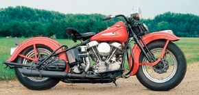 """Harley-Davidson introduced the """"Panhead"""" Big Twin engine on the 1948 FL, a bike otherwise little-changed fromt he last prewar Harleys."""