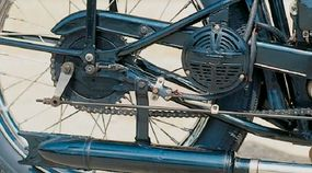 Harley's traditional horn was fitted to the S-125, though in a rather odd place near the rear wheel.