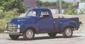 As envisioned in the studio in late 1945, the 1949 truck would have had fenders flowing into the doors. See more classic truck pictures.