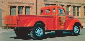 Unlike most pickups of the time, the 1949 Diamond T Model 201 pickup used no car-based components. Note the unusual rear-window design.
