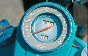 The tank-mounted speedometer was a key styling element of the 1949 Harley-Davidson FL Hydra-Glide.