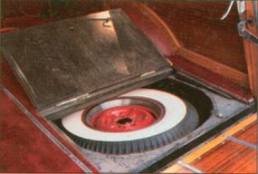 The spare tire of the 1949 Oldsmobile 76 station wagon was hidden under the cargo floor.