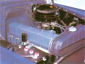 Under the hood of the 1950-1952 Chevrolet Bel Air.