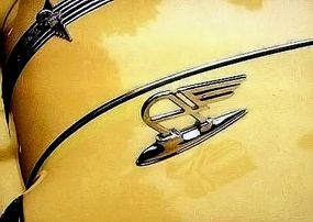 """A winged """"A"""" was perched above each headlight on the 1950 Austin A90 Atlantic Convertible."""
