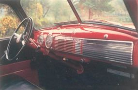 The interior of the 1950 GMC FC101 pickup was nearly identical to that of its Chevy counterparts.
