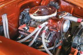 The 1950s revival leadsled was fit with a small-block Chevy/Turbo 350 automatic transmission combo.