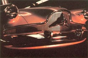 A closeup of the shapely new front end of the Aero-Willys concept car.