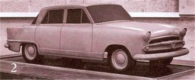 One side of a two-sided early scale clay model of the redesigned Aero-Willys concept car.