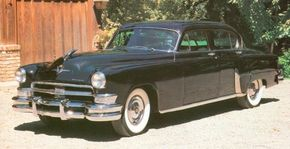 The 1953 Chrysler Imperial featured a heavily chromed grille and a 180-horsepower hemi V-8.