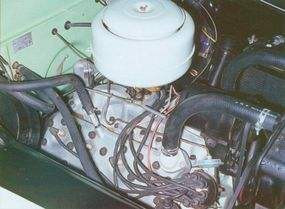 The V-8 engine featured an intake manifold common in Canadian cars.