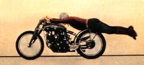 Depicted on this postcard circa 1950 is Roland R. Free running a Vincent Black Shadow on Utah's Bonneville Salt Flats. His speed was 148-150 mph.