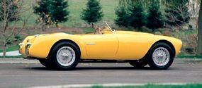 The sleek shape of the 1952 Siata 208S Spyder reveals its racing heritage.