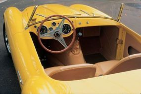The cockpit of the 1952 Siata 208S Spyder was designed with sporting performance in mind.