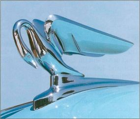 The wings of the cormorant hood ornament on Packard 250s used to point up.