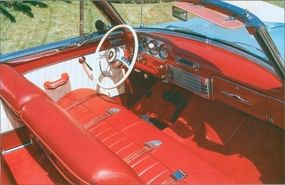 The 1952 Packard 250 convertible offered six upholstery combos.