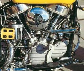"""The FL's """"Panhead"""" V-twin engine displaced 74 cubic inches."""
