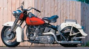 Here's the optional two-tone paint offered on the 1954 Harley-Davidson FL Hydra-Glide model.
