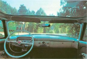 Taking advantage of the 1950s plastic craze, the 1954 Mercury Sun Valley sported a plastic see-through roof.