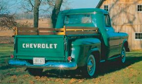 Aside from their conventional stepside beds, Chevy's standard 1956 Chevrolet Series 3100 pickups looked as advanced as their fancy Cameo Carrier linemates. See more classic truck pictures.